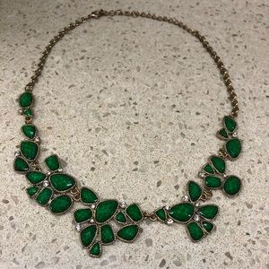 Jewelry - Green resin and cubic zirconia statement necklace